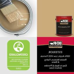 1 Gal. #S300-4 Flax Straw Flat Exterior Paint And Primer In