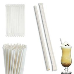 100 Pack White Paper Drinking Straws Wrapped Eco-Friendly Pa