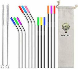 12-Pack Stainless Steel Metal Straws with Silicone Tips, Lon