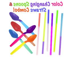 15, 25, 50, 100 Pack - Color Changing Spoons & Straws Combo!