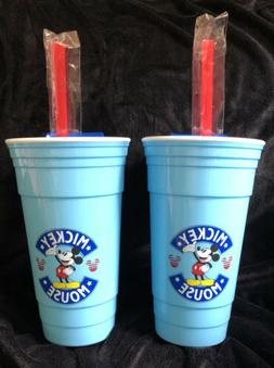 2 Disney Mickey Mouse 32 oz Blue Travel Tumblers With Straws