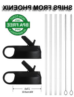 2 Pack Black Straw Lids Fits Hydro Flask 4 Straws 2 Cleaning