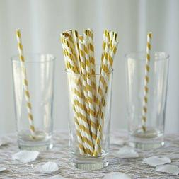 50 pcs 8 white and gold biodegradable