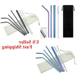 4/7 Pcs Reusable Straws Stainless Steel Drinking Metal for 3