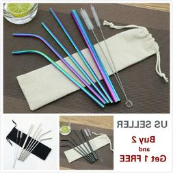 4/7Pcs Stainless Steel Drinking Straws Reusable Smoothie for