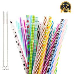 """50 Pack Reusable Straws BPA-Free 9"""" Colorful Hard Plastic St"""