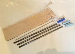 """8.5"""" Long Reusable Straws Stainless Steel Drinking Metal wit"""