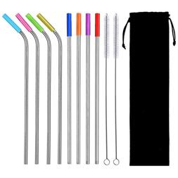 8PCS Reusable Stainless Steel Drinking Straws W/ 2 Brushes 8