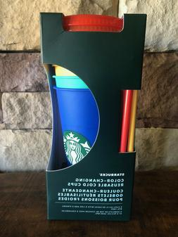 Starbucks Changing Color Cold Tumblers 5pk 24oz W/Lids and S