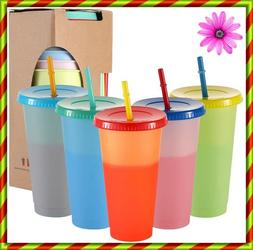 Color Changing Cups, 24oz 5 Reusable Cold Drink Cups with Li