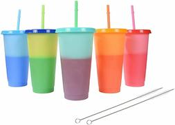Color Changing Cups Reusable Tumblers with Lids Straws and B