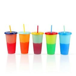 Color Changing Reusable Cold Cups w Lids & Straws BPA FREE S
