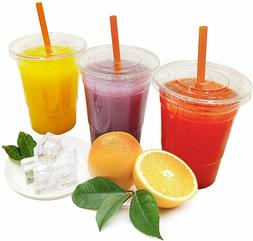 Clear Plastic Cups with Flat Lids and Straws 100,200,500,100