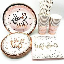 Disposable Tableware Rose Gold Paper Cups Plates Straws Birt