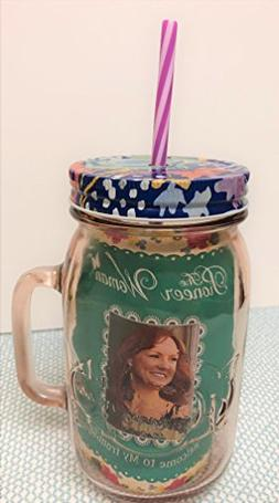 """The Pioneer Woman Glass 32oz Mason Jar with Lid and Straw """"R"""