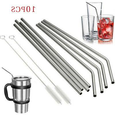 10 5 reusable stainless steel drinking straws