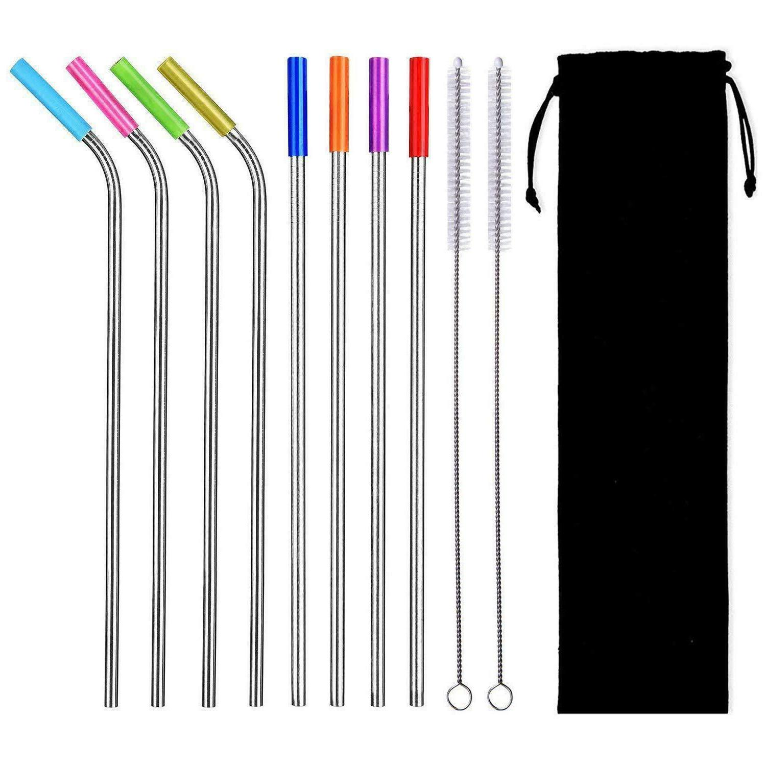 8pcs reusable stainless steel drinking straws w