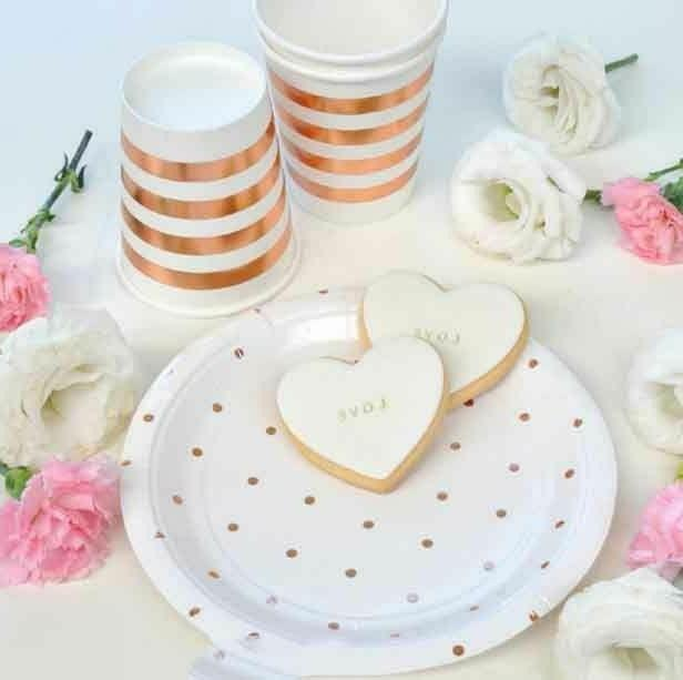 party decor tableware set supply striped disposable