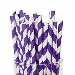 AMSCAN Lot of 80 Striped Purple and White Paper Straws