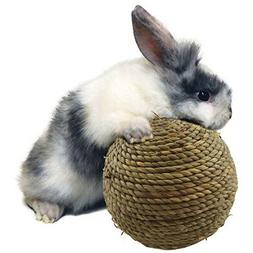 Natural Straw Woven Pet Hamster Rabbit Chew Ball 3in Safety