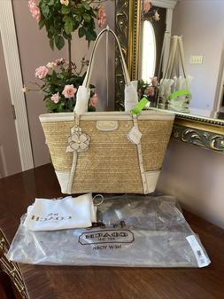 New Coach Bag Straw Beige Python Stamped Leather Studded Tot