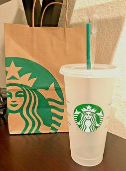 New Starbucks Logo Reusable Ice / Cold To Go Cup With Straw