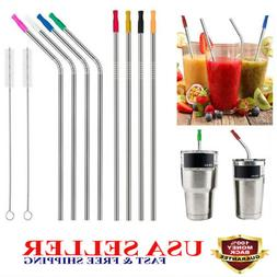 New Long Reusable Stainless Steel Drinking Straws Metal For