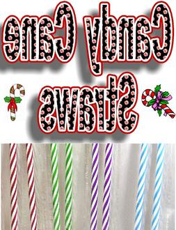 """REUSABLE """"CANDY CANE""""  STRAWS, Red, Blue, Green & Purple.  9"""