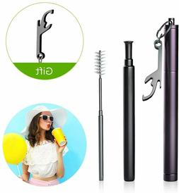 Reusable Metal Folding Collapsible Drinking Straw Portable +