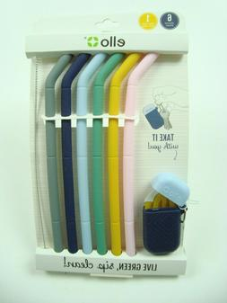 Reusable Silicone Straws Ello Set of 6 with Cleaning Brush a