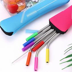 Reusable Stainless Steel Straight Bent Drinking Straws with