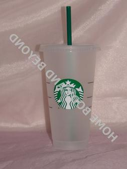 STARBUCKS Reusable Venti 24 OZ Frosted Ice Cold Drink Cup Wi