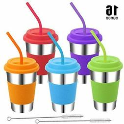 Rommeka Kids Cups With Lids And Straws, 5 Pack Stainless Ste