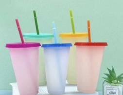Set Of 5 24oz Color Changing CRAFTING Cups with Lids and Str
