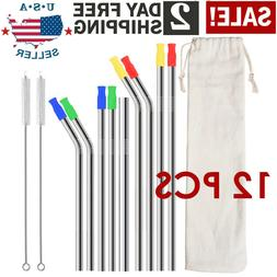 Stainless Steel Drinking Straws Metal Reusable Silicone Rubb