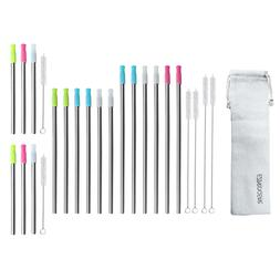 Stainless Steel Metal Wide Straw & Silicone Tips 8 mm Smooth
