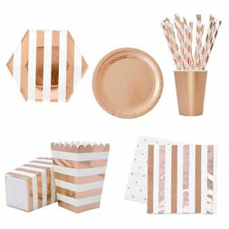 Tableware Party Paper Cups Plates Straws Set Rose Gold Dispo